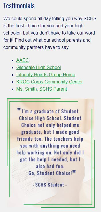 Screen shot of sidebar from Student Choice High School's website. Image shows links to testimonials and a student quote.