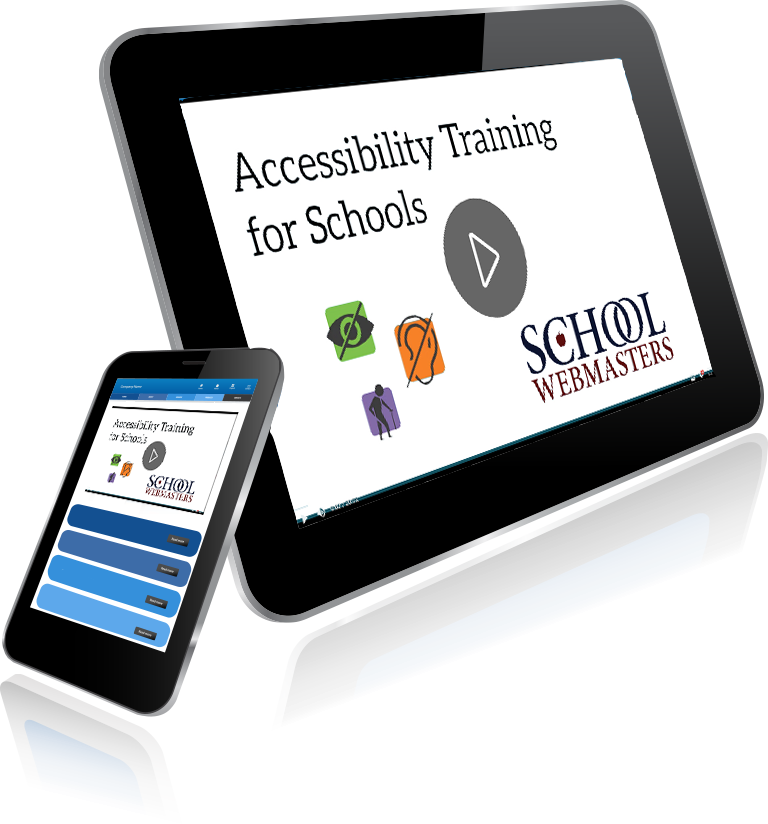 graphic of tablet with Accessibility Training for Schools image