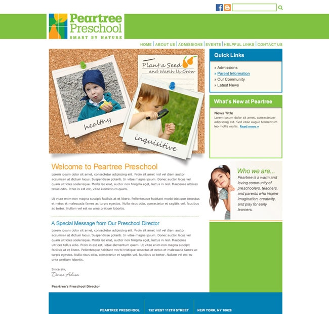 Preschool Website Template: Peartree Preschool