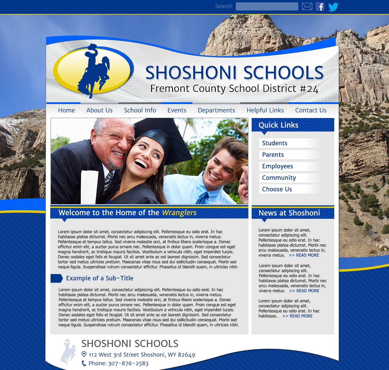 Template School Website: Shoshoni Schools