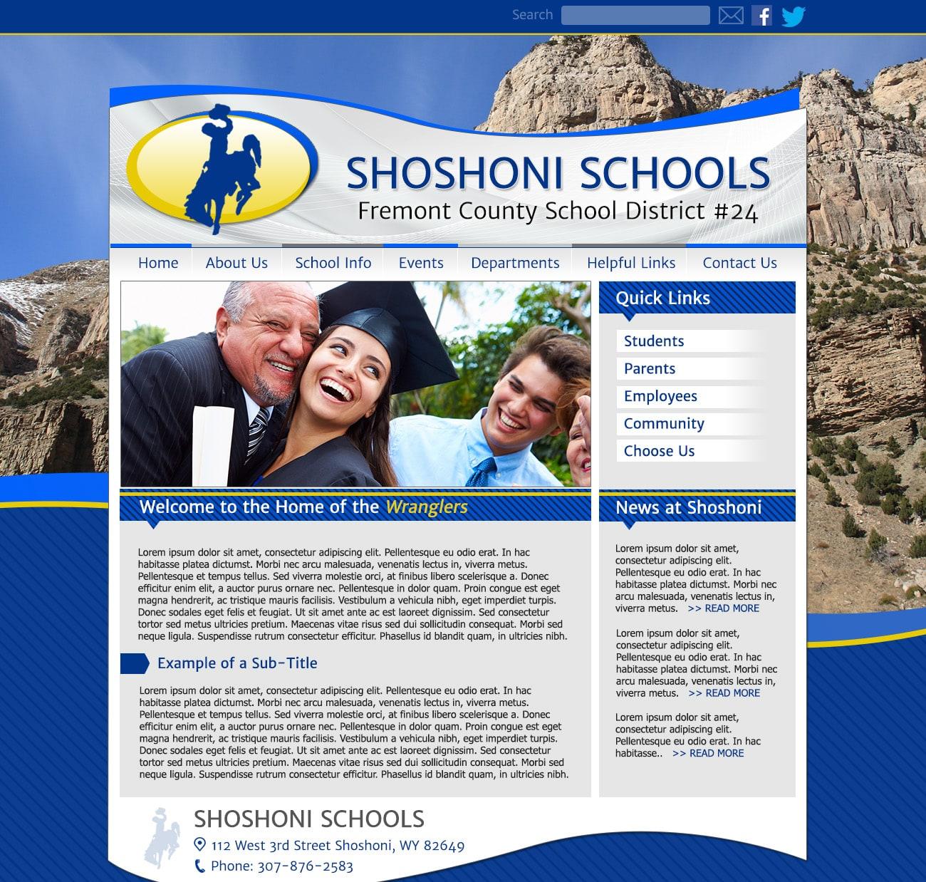 Template School Website: Shoshoni Schools