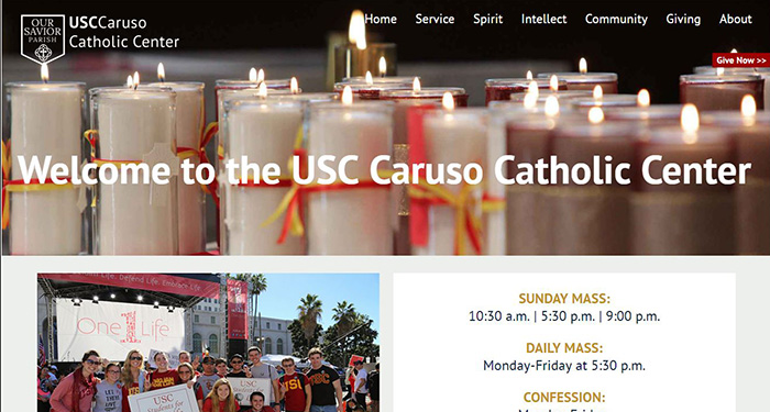 Faith-based Organization Web Design: USC Caruso Catholic Center