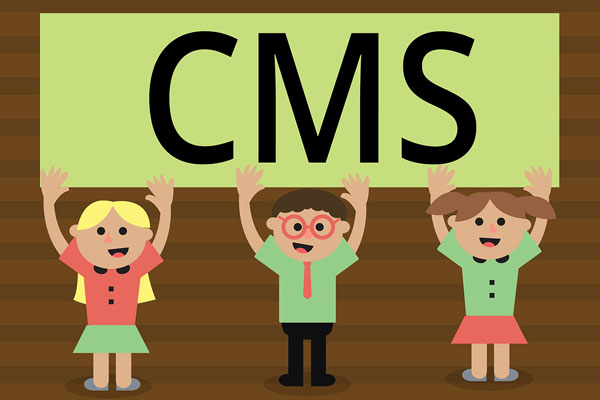 Cartoon images of children holding up signs that spell CMS