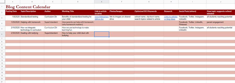 Example of school blog content calendar
