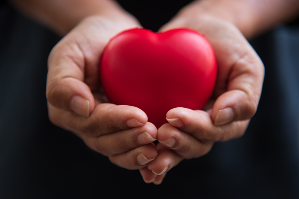 Handles cradling a heart to convey empathy