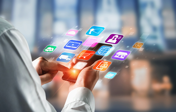 female using tablet for digital marketing