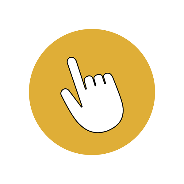 Finger pointing to indicate effective website navigation
