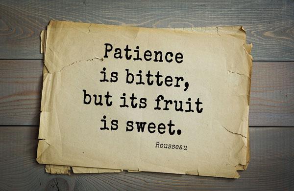 Patience is bitter, but its fruit is sweet. Rousseau