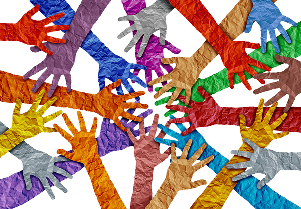 Image of colorful paper cut-out of hands