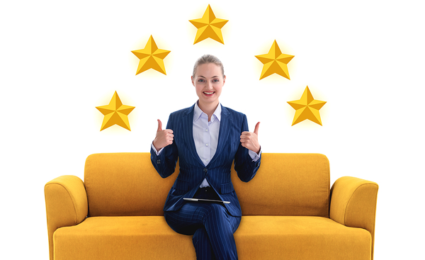 Woman on couch with 5 stars over her head