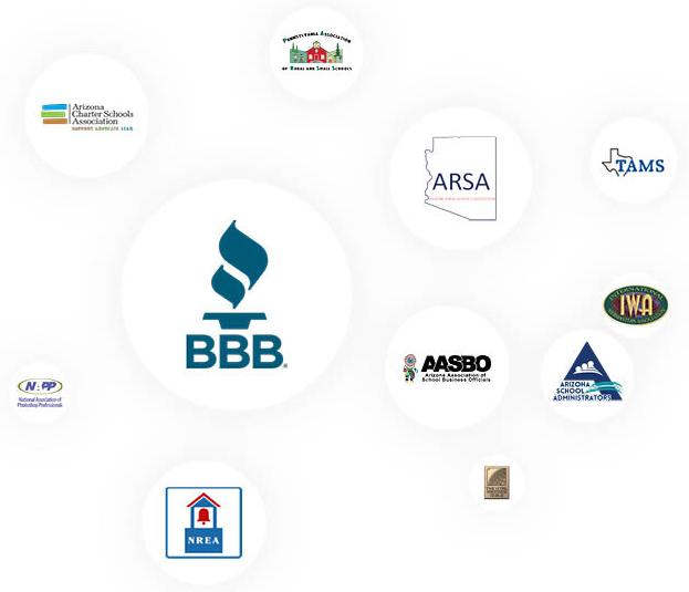 partner logos - AZ Charter Schools Association, PARSS, BBB, ARSA, TAMS, NAPP, AASBO, IWA, AZSA, NREA