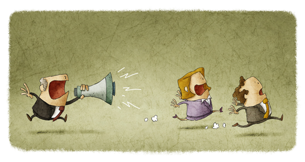 One cartoon character chasing two others with a megaphone