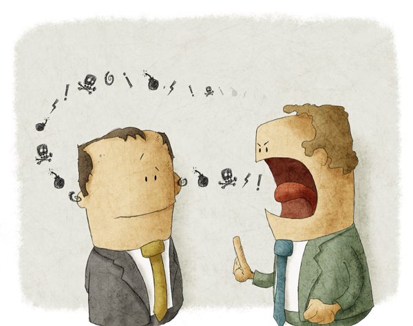 Two male cartoon characters - one speaking to the other as the words go in one ear and out the other