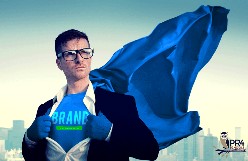 Superhero revealing the word Brand on his chest
