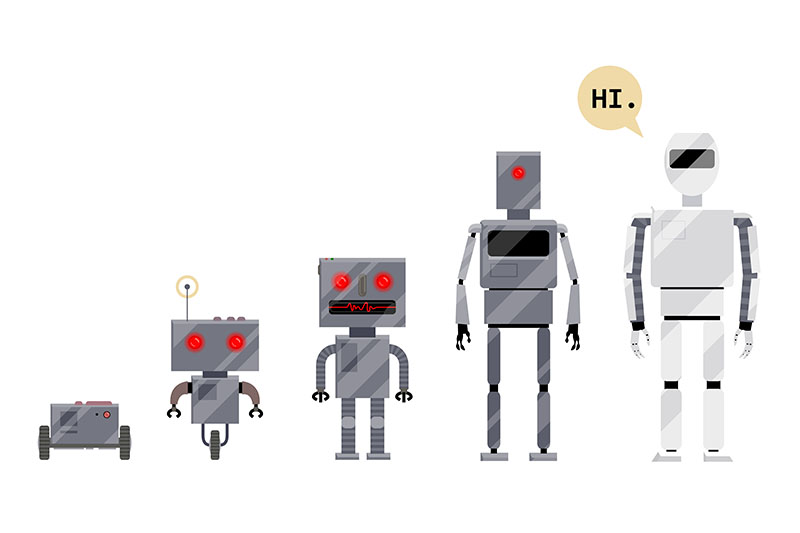 Image of the evolution of robots to represent the evolution of website accessiblity