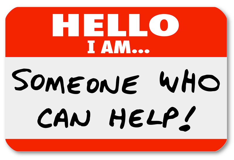 Name tag with words Hello I am someone who can help