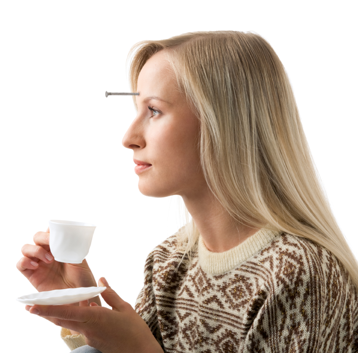 blond girl drinking tea with a nail protruding from her forehead