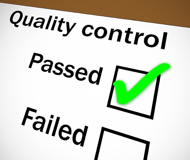Quality control completed checkbox