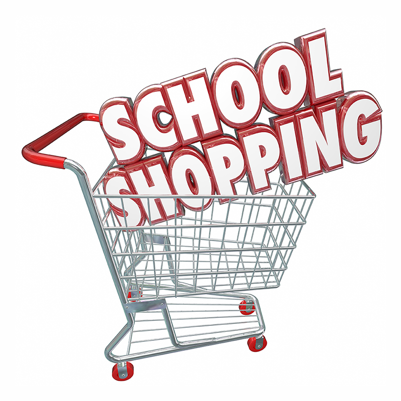 Image of shopping cart filled with the words school shopping