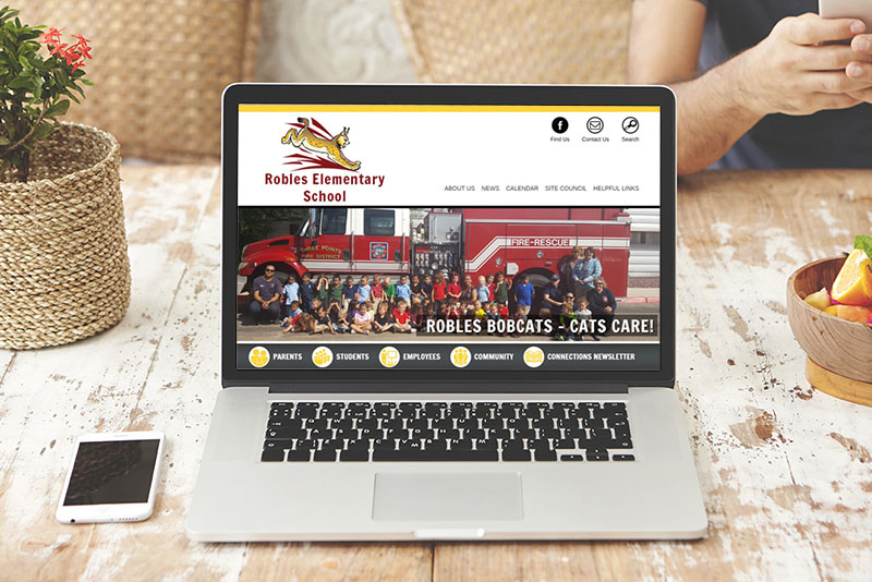 Image of an example of an elementary school website