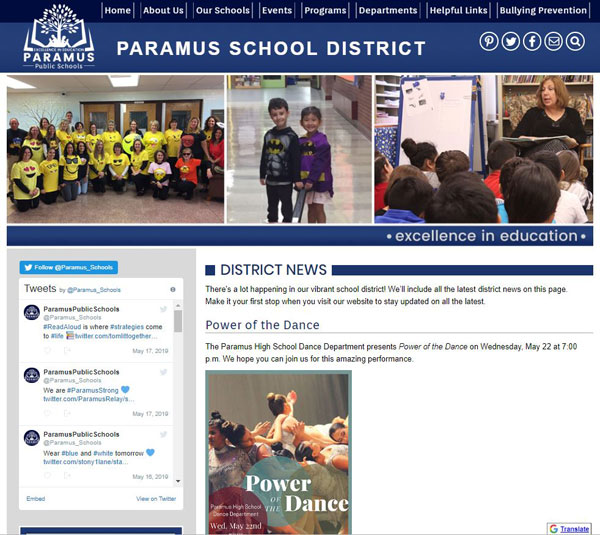 screen shot of Paramus School website