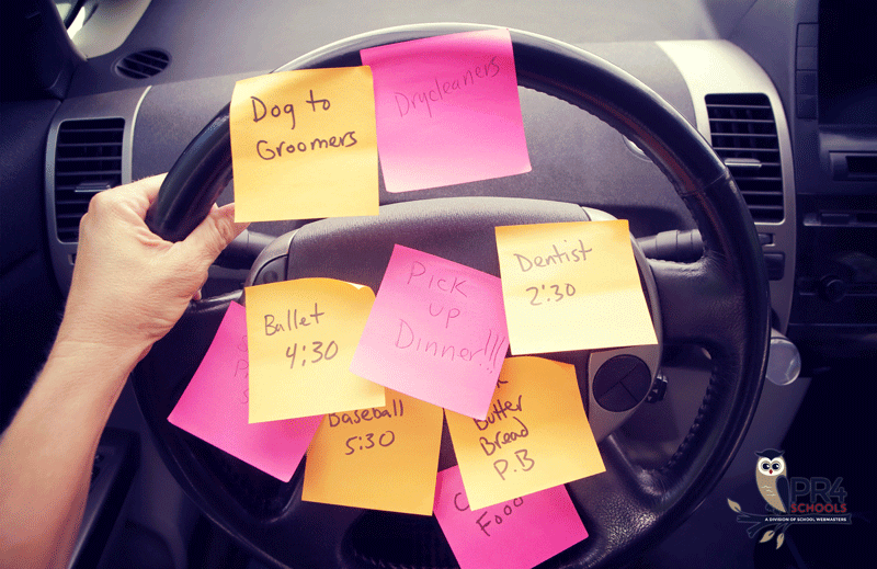 Sticky notes on a car steering wheel