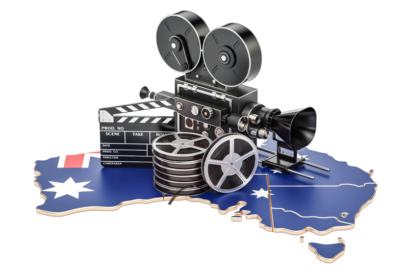 3D map of Australia and video filming equipment