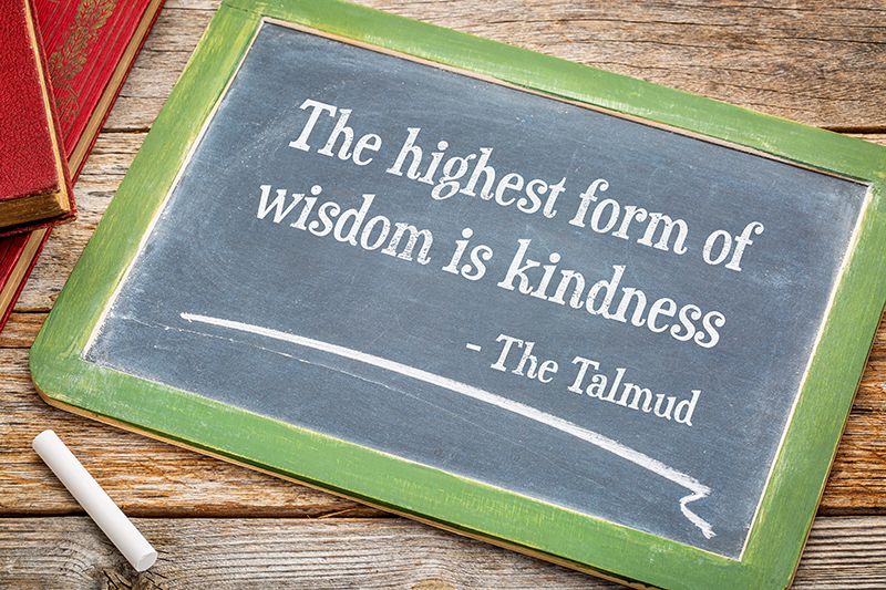 Chalkboard with the words The highest form of wisdom is kindness written on it