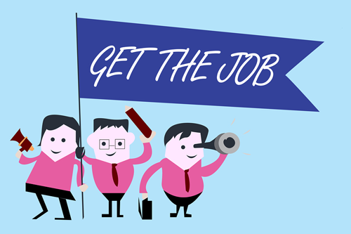 Cartoon characters holding flag that says Get the Job