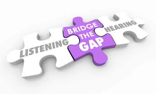 puzzle pieces with the words listening, bridge the gap, and hearing