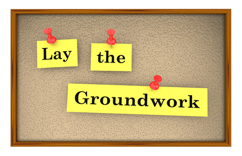 Image of the words Lay the Groundwork on corkboard