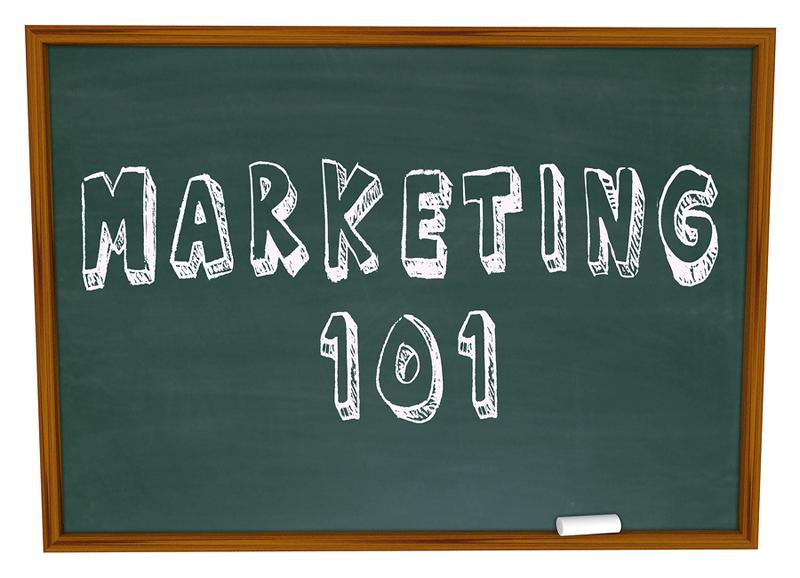 Chalkboard with the words Marketing 101 written in chalk