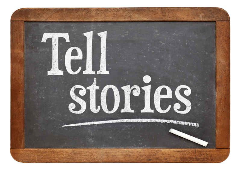 How schools use social media or how they should telling stories printed on small chalkboard fandeluxe Images