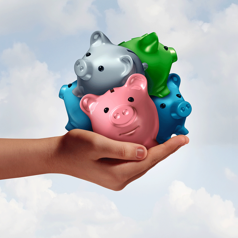 Handful of colorful piggy banks representing website budgets