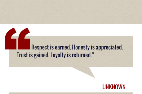 Graphic quote: Respect is earned. Honesty is appreciated. Trust is gained. Loyalty is returned.