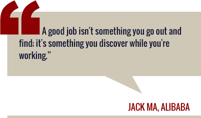 Graphic quote: A good job isn't something you go out and find; it's something you discover while you're working. Jack Ma, Alibaba