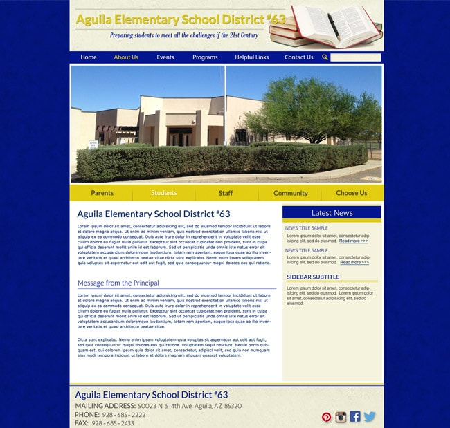 District Template Website: Aguila ESD