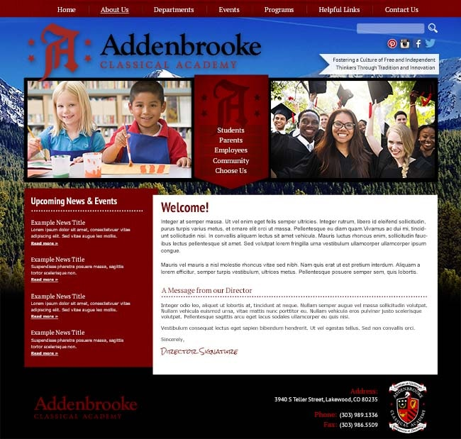 Beautiful School Website: Addenbrooke Classical Academy