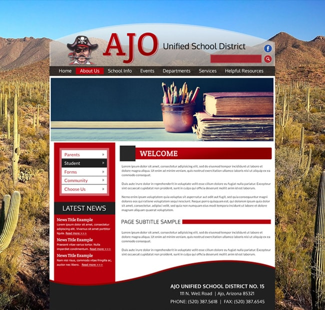Unified School District  Website Template: Ajo