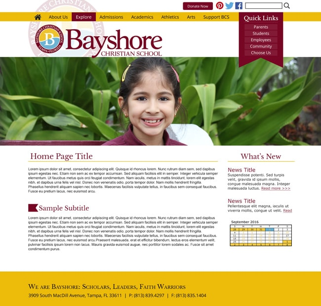 Customized Christian School Template: Bayshore Christian School