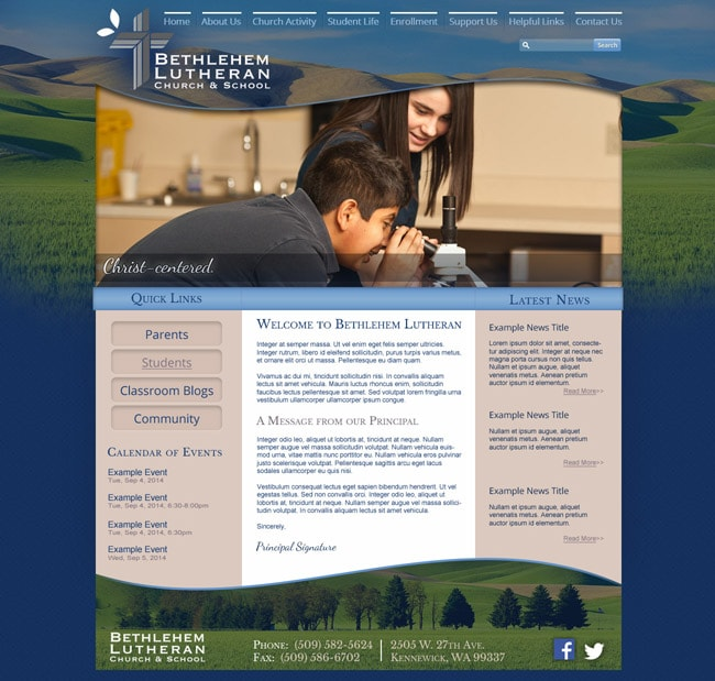 Website Template for Lutheran School: Bethlehem Lutheran