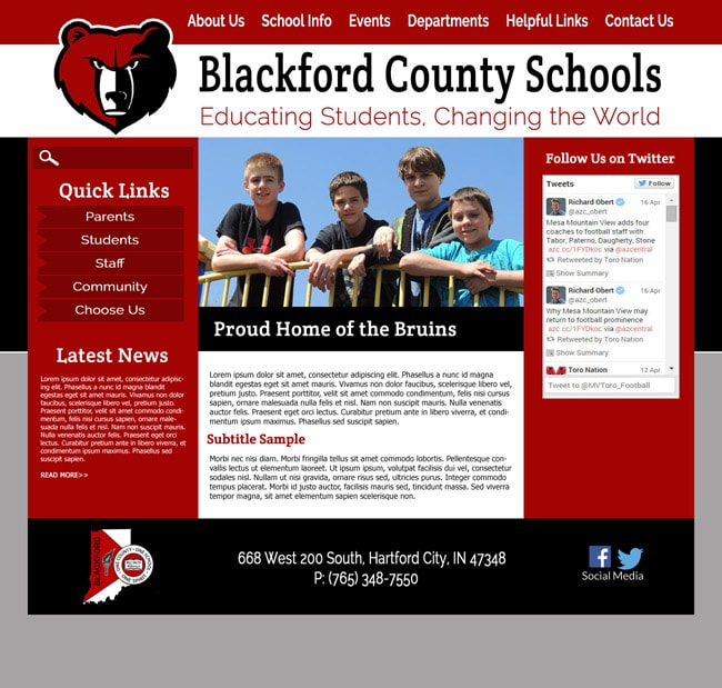 Templates websites for schools: Blackford County