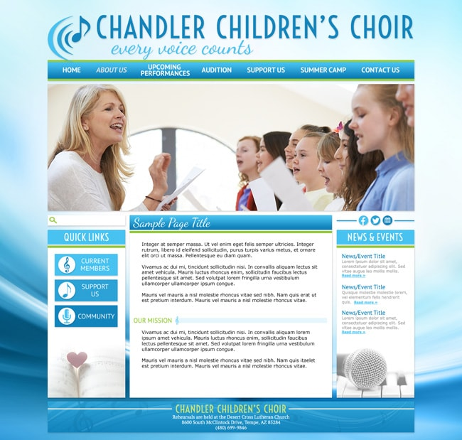 Choir Website Template: Chandler Children's Choir
