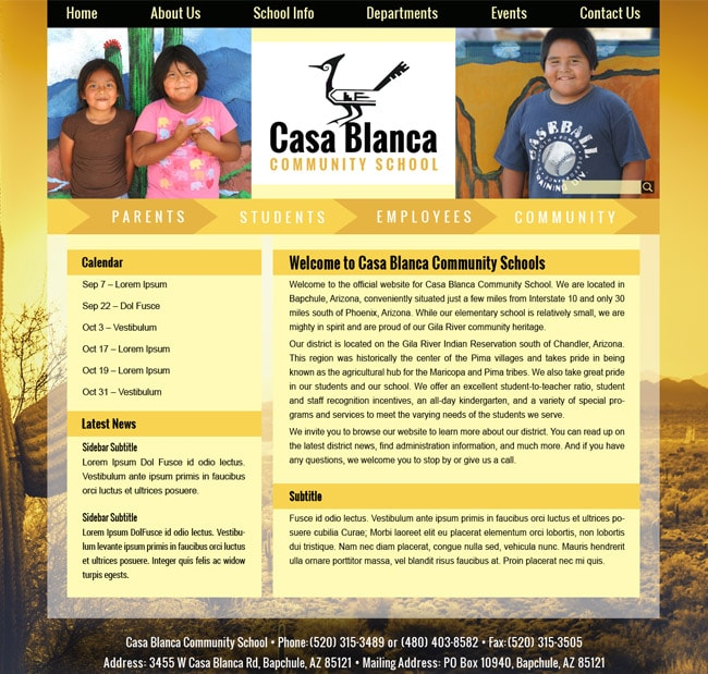 American Indian School Website: Casa Blanca