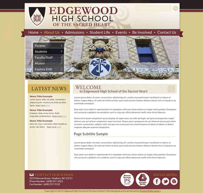 Catholic High School Website Template: Edgewood
