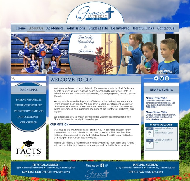 Website Template for Lutheran School: Grace Lutheran