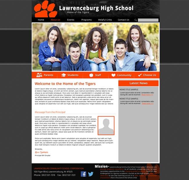 High School Website Template: Lawrenceburg HS