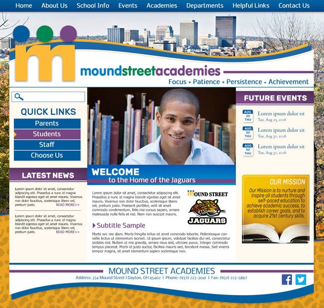 Charter School Website Template: Mound Street Academies