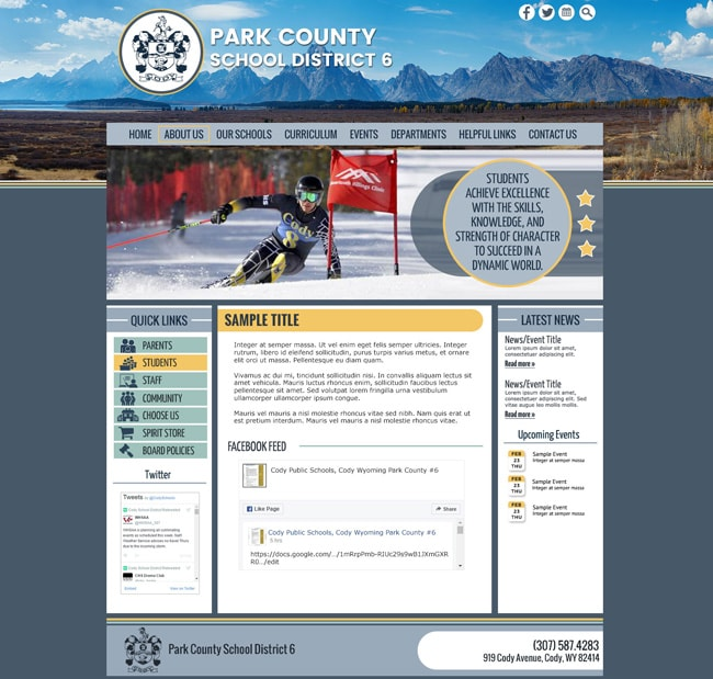 School District Website Template: Park County School District