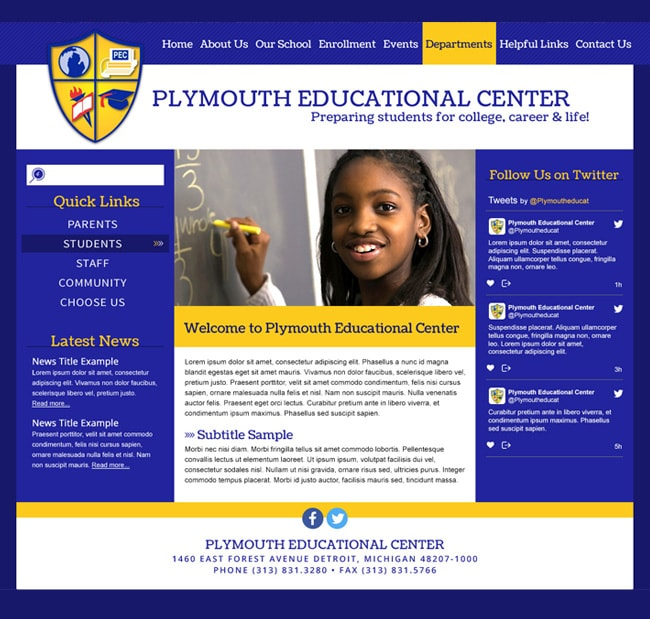 District Website Templates: Plymouth Educational Center